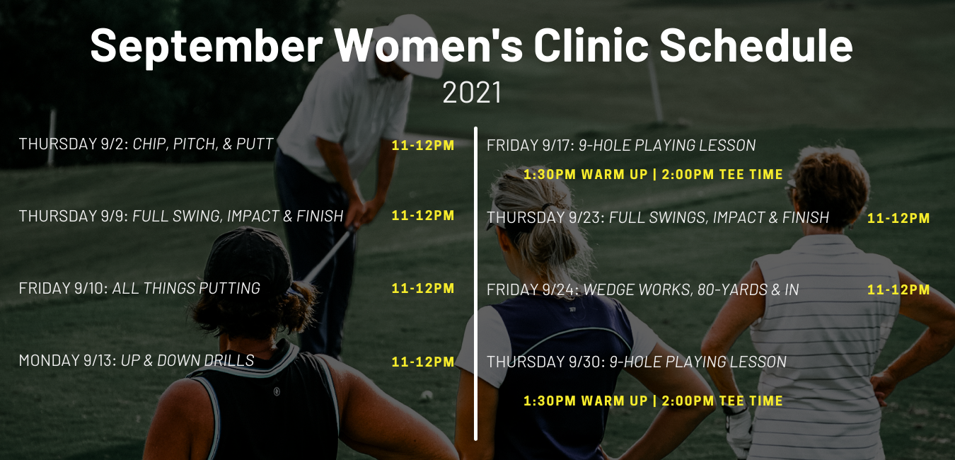 Derek Sauser Schedule for Women's Golf Lessons and Clinics at the Fairways of Canton.