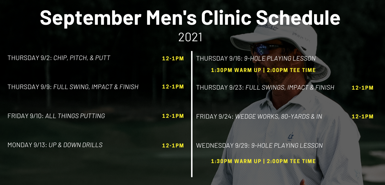 Derek Sauser Schedule for Men's Golf Lessons and Clinics at the Fairways of Canton.